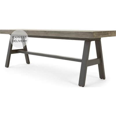 Edson Garden dining bench, cement and metal