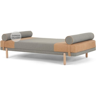 Assim Daybed, Tan Leather and  Manhattan Grey