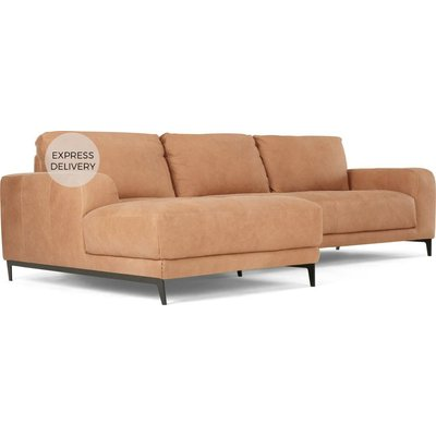 Luciano Left Hand Facing Chaise End Corner Sofa, Tan Leather