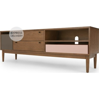 Campton Media Unit, Dark Stain Oak and Grey