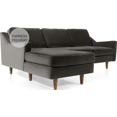 Dallas Left Hand Facing Chaise End Corner Sofa, Concrete Cotton Velvet