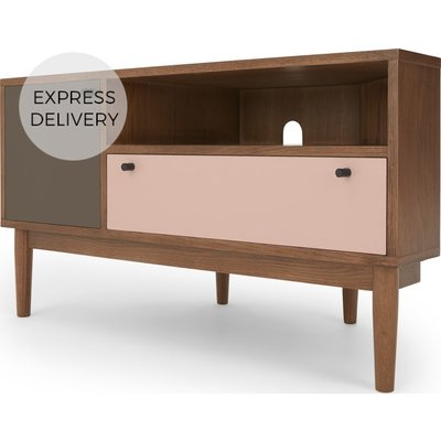 Campton Corner Media Unit, Dark Stain Oak and Pink