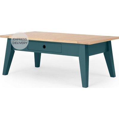 Ralph Coffee Table with Storage, Oak and Teal