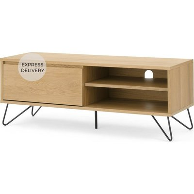Cerian Wide TV Stand, Oak and Black