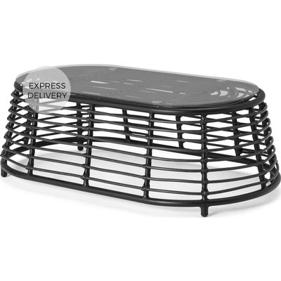 Swara Garden Coffee Table, Black Polyrattan and Glass