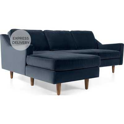 Dallas Left Hand Facing Chaise End Corner Sofa, Navy Cotton Velvet