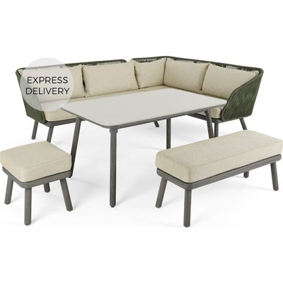 Alif Garden Corner Dining Set, Concrete Green and Grey Eucalyptus