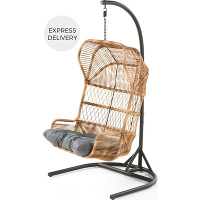 Lyra Garden Hanging Chair, Charcoal Grey