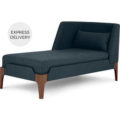Roscoe Left Hand Facing Chaise Longue, Aegean Blue with Brown Leg