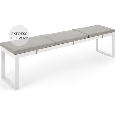 Catania Large Garden Dining Bench, White and Polywood