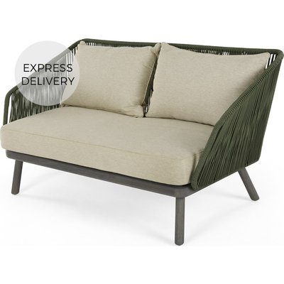 Alif Garden 2 Seater Sofa, Green and Grey Eucalyptus