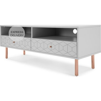 Hedra TV Stand, Grey and Copper