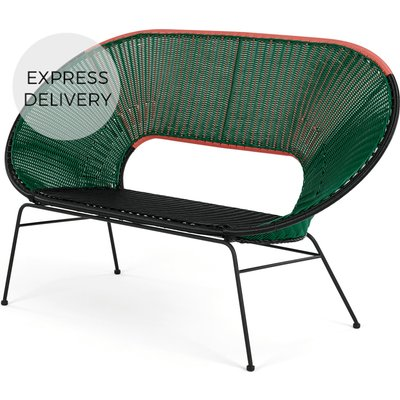 Yuri Garden Bench, Multi Woven Green
