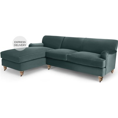 Orson Left Hand Facing Chaise End Corner Sofa, Marine Green Velvet