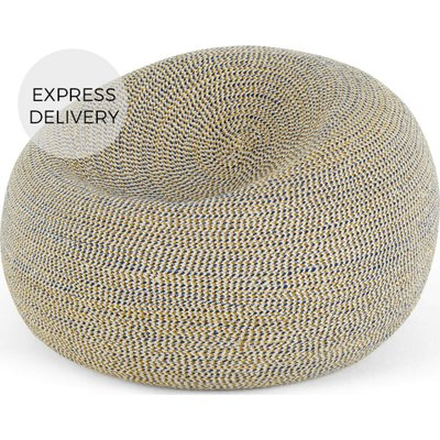 Pryia Cocoon Bean Bag, Mustard Yellow & Prussian Blue Braided Weave