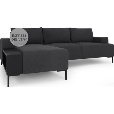 MADE Essentials Oskar Left Hand Facing Chaise End Corner Sofa  With Table, Sterling Grey