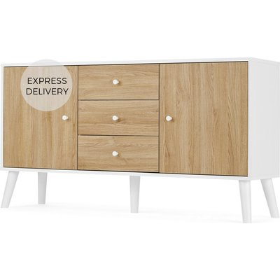 MADE Essentials Larsen Large Sideboard, Oak Effect & White