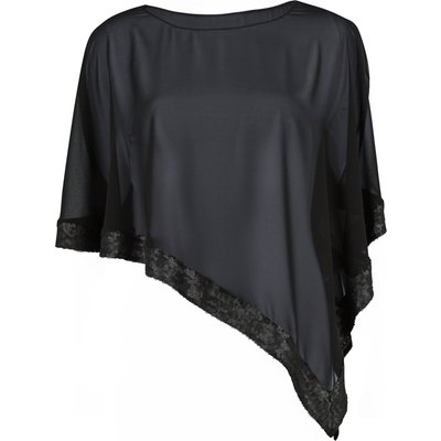 Black Chiffon Cape with Sequin Edge