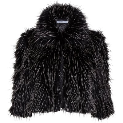 Black white faux fur cropped jacket