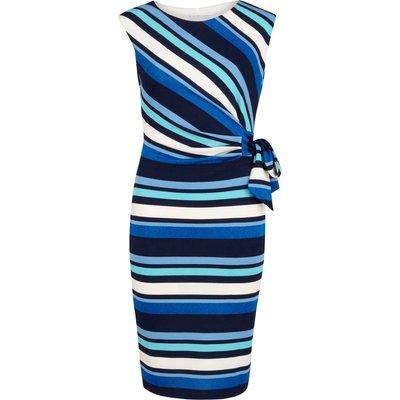Metallic stripe jersey ruched dress