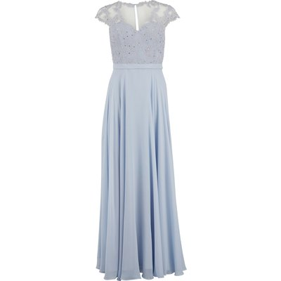 Maxi chiffon dress with fancy bodice