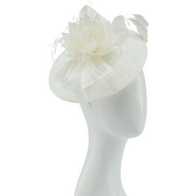 Feather flower trim cinamay fascinator