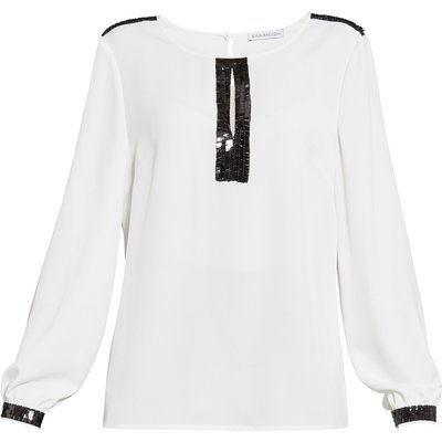 Soho crepe blouse with sequin trim