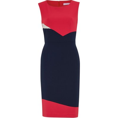 Stretch moss crepe panel dress