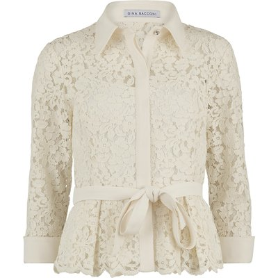 Lace blouse with contrast trim and belt