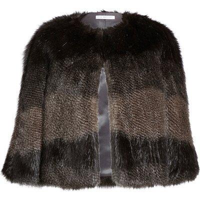 Subtle stripe faux fur cape
