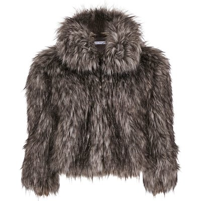 Sparkle metallic faux fur jacket