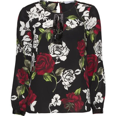 Sequin trim rose crepe georgette blouse
