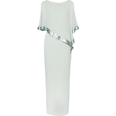 Crepe and Chiffon Maxi Dress with Sequin