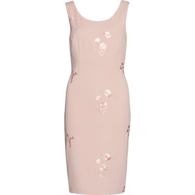 Embroidered Moss Crepe Dress