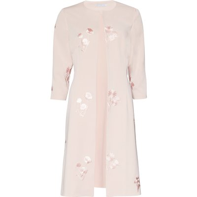 Embroidered Moss Crepe Coat