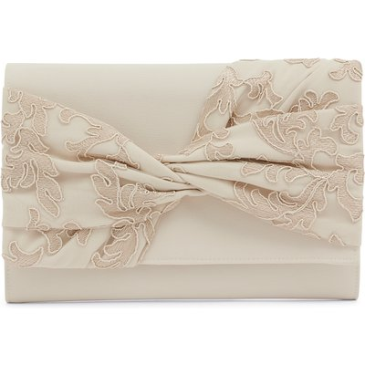 Crepe and Embroidered Mesh Bag