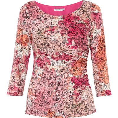 Pink Lace Effect Jersey Top