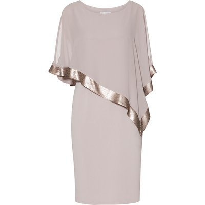 Victoria Sequin Trim Cape Dress