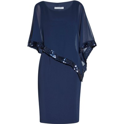 Victoria Sequin Trim Cape Dress