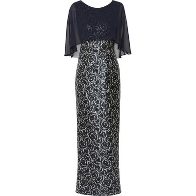 Arina Sequin Maxi Dress With Cape