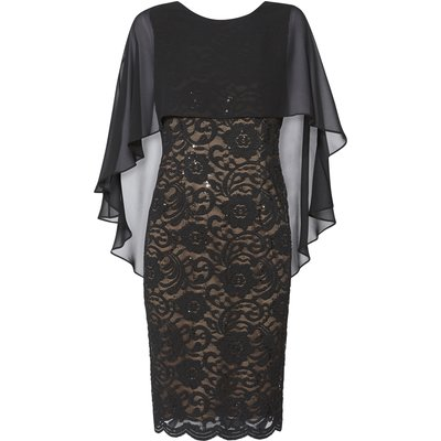 Athena Lace Dress With Chiffon Cape