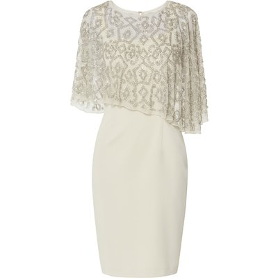Laverna Crepe Dress With Beaded Cape