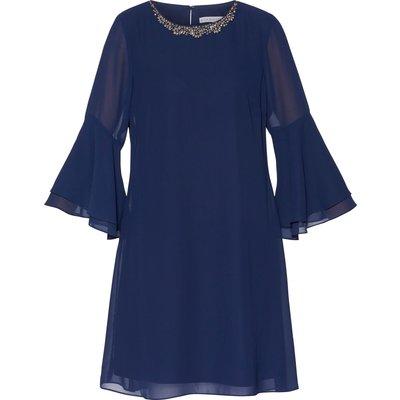 Belora Chiffon Dress With Neck Details.