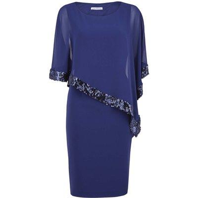 Ladina Sequin Trim Cape Dress