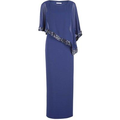Lizette Sequin Trim Cape Maxi Dress