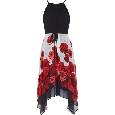 Solid Bodice And Printed Skirt Dress