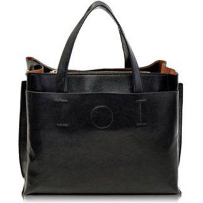 Retro Solid Color and Stitching Design Tote Bag For Women, Black