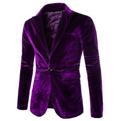 Slimming Lapel Vogue Pocket Edging Design Long Sleeve Men's Corduroy Blazer