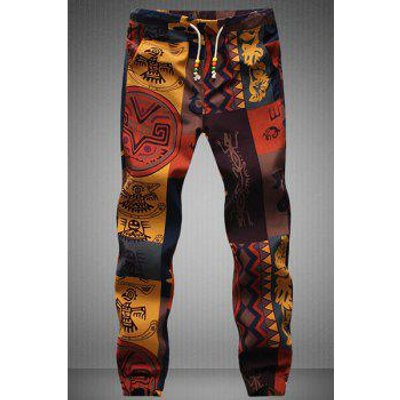 Narrow Feet Drawstring Gecko Pattern Print Men's Jogger Pants