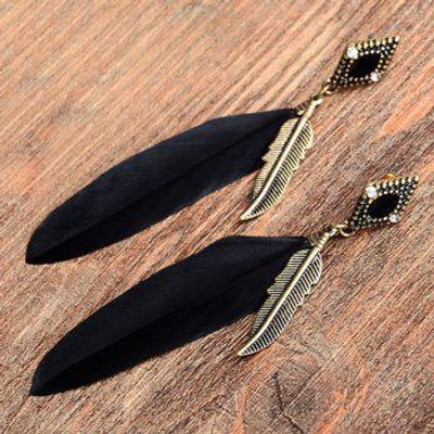 Pair of Rhinestone Feather Leaf Earrings, Black